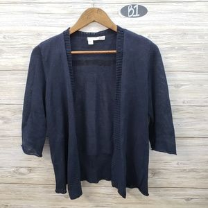 Eileen Fisher Navy Linen Open Front Cardigan